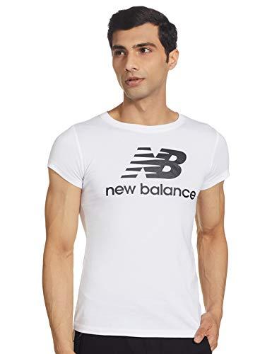 New Balance Essentials Stacked Logo T-Shirt, Blanco/Negro, L Womens