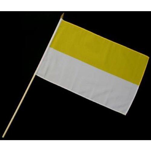Stock-Flagge 30 x 45 : Gelb-Weiß / Kirchenflagge
