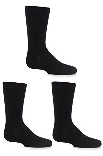 Jungen und Mädchen 3 Paar SockShop Einfarbige Bambus Socken mit Komfortmanschette und Handverknüpfte Zehen - Schwarz 31-36