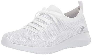 Skechers Sport Women s Ultra Flex Salutations Sneaker,white/silver,7.5 M US