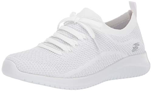 Skechers Sport Women's Ultra Flex Salutations Sneaker,white/silver,8.5 M US