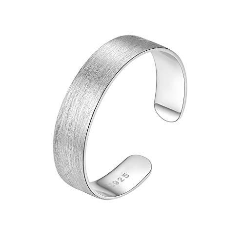 PROSILVER Anillo Abierto Plata de Mujer Acabado Cepillado Anillo de Plata de Filigrana, 5mm Band Ring for Girls