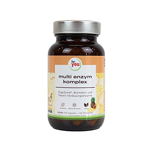 for you multi enzym komplex   Enzyme zur Unterstützung der Verdauung   Natürlicher Multienzymkomplex von DigeZyme® hergestellt durch Fermentation + Enzymen aus Ananas & Papaya, Bromelain & Papain
