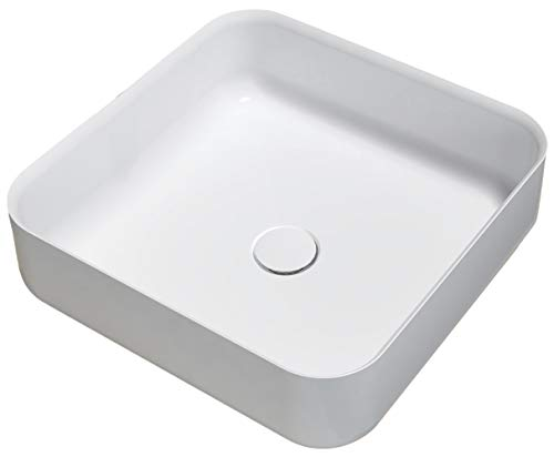 Bernstein Badshop Aufsatzbecken Waschbecken Quadrat PB2120 Aufsatzwaschbecken aus Mineralguss in Weiß - 40x40x13cm - Pure Acrylic