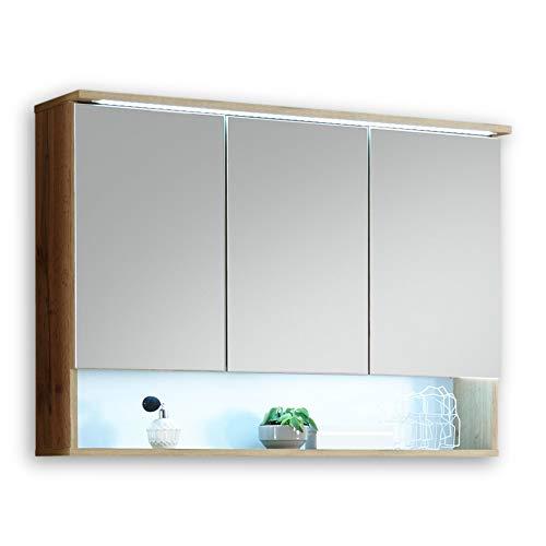 BEST Miroir salle de bain avec lumière LED en look chêne sauvage - armoire de toilette avec beaucoup d'espace de rangement - 99 x 70 x 23 cm
