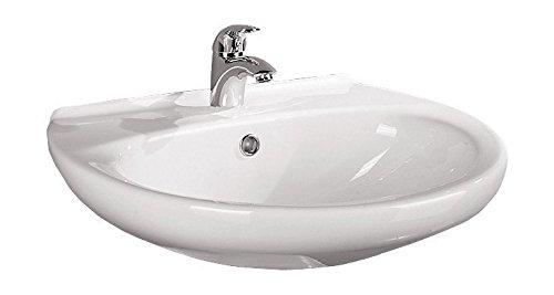 'aquaSu® Waschtisch Aveiro | 65 cm | Weiß | Waschbecken | Waschplatz | Keramik | Bad | Badezimmer | Gäste-WC | Mit Überlaufschutz