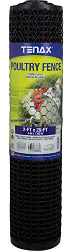 Tenax 72120548 Poultry Fence, 2'x25', Black