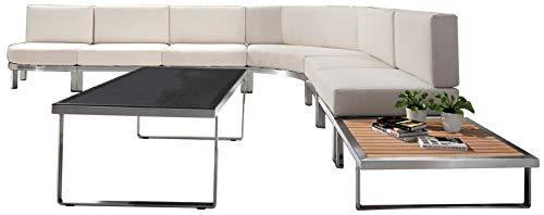 Jet-line Salon de jardin design grand canapé d'angle avec table en bois d'acacia Poseidon, beige