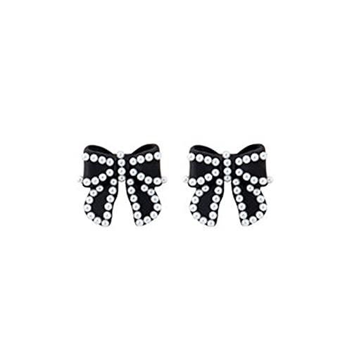 UBBVPKY Pendientes para Mujer - Pendientes Bowknot Arco Geométrico Temperamento Perla Stud Accesorios De Fiesta Gota Cuelga Encanto Joyería De Moda para Mujeres Señoras Niñas, Negro