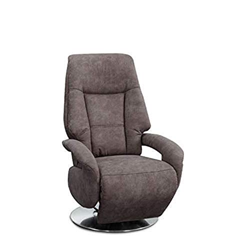 Cavadore TV-Sessel Edinburgh / Fernsehsessel mit elektrisch verstellbarer Relaxfunktion / 2 E-Motoren / 74 x 114 x 77 / Lederoptik: grau