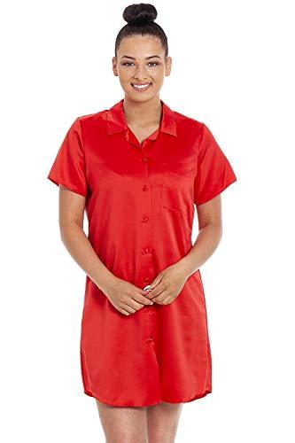 CAMILLE Womens Luxury Plain Satin Nachthemden 44 Red