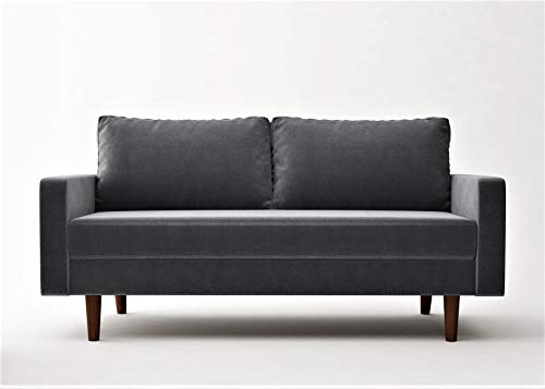 "Container Furniture Direct Ranstead Mid Century Modern Velvet Upholstered Living Room Sofa, 71.6"", Grey"
