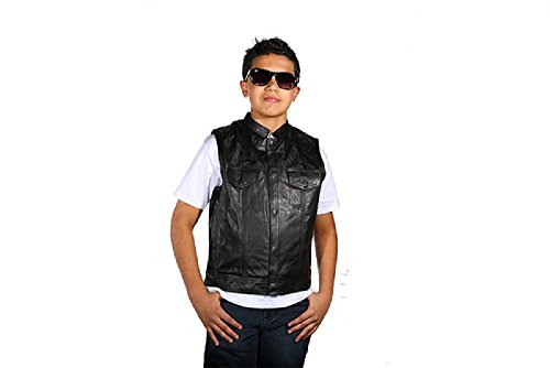 Kids Motorcycle Club Black Leather Vest-CHILDREN'S SIZE--MEDIUM