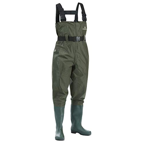 FISHINGSIR Fishing Chest Waders for Men with Boots Mens Womens Hunting Bootfoot Waterproof Nylon and PVC with Wading Belt