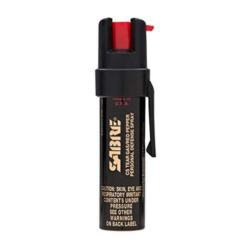 SABRE Advanced Compact Pepper Spray with Clip – 3-in-1 Formula (Pepper Spray, CS Tear Gas & UV Marking Dye), Police Strength Self Defense Spray, 10-Foot (3 m) Range, 35 Bursts – Easy Access Belt Clip 3