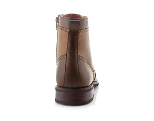 Polar Fox MPX-808567 Men's Brown Lace Up Wing Tip Perforated Dress Ankle Boot (13)
