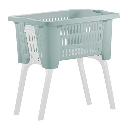 Deuba Wäschekorb mit ausklappbaren Beinen Tragegriffe 38 L Kunststoff Haushalt Waschwanne 60x40x58 cm Waschbehälter Grün