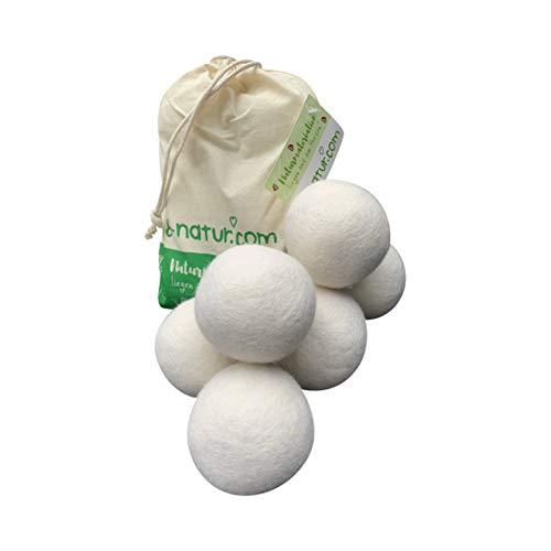 8-Natur - Bolas secadora extragrandes XXL, bolas para secadora de lana naturales - pelotas de lana para secar ropa, hechas de lana merino 100 % pura