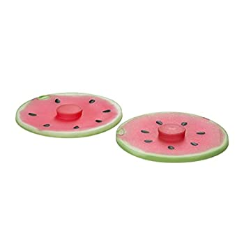 Charles Viancin Silicone Watermelon Drink Airtight Lid/Cover Set of 2 Pink