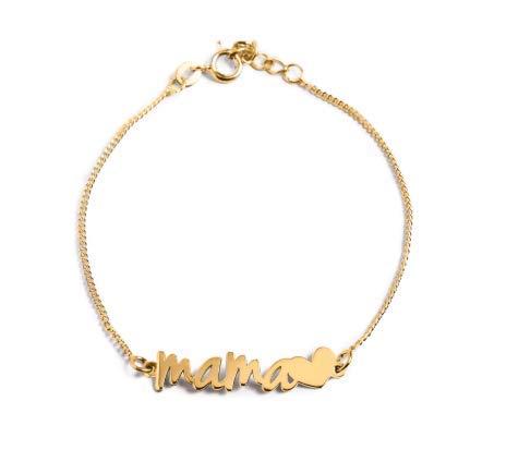 SINGULARU ® - Pulsera Mamá Heart Oro para Mujer Plata de Ley 925 con baño de Oro de 18k - Joyas mujer