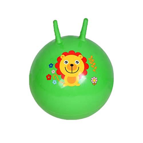 BESPORTBLE Hüpfball Kinder mit Haltegriff für Drinnen Draußen Sprungball Spaßball Hüpftier Springball Gymnastikball Soft Pilates Yoga Ball mit Löwe Tier-Motiv Grün Größe S (Zufällige Farbe)