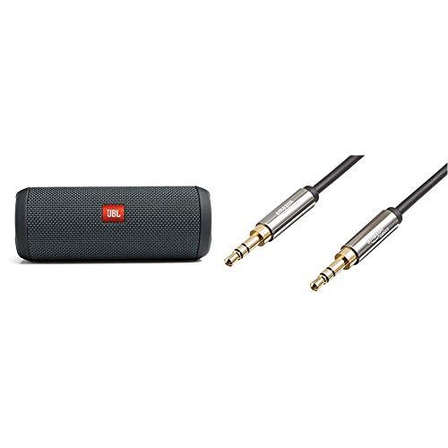 JBL Flip Essential Bluetooth Box in Grau – portabler Lautsprecher mit herausragendem Sound & Amazon Basics Aux-Kabel, Stereo-Audiokabel, 3,5 mm-Klinkenstecker auf 3,5 mm-Klinkenstecker, 2,4 m