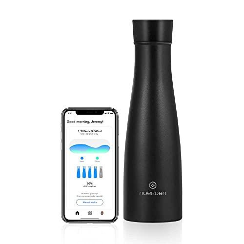NOERDEN - Botella Inteligente Liz 480 - Botella de Agua Autolimpiable de Acero Inoxidable - Tapa sin BPA, Esterilización UV, Recordatorio de Hidratación e Indicador LED de Temperatura - 0,48l - Negro