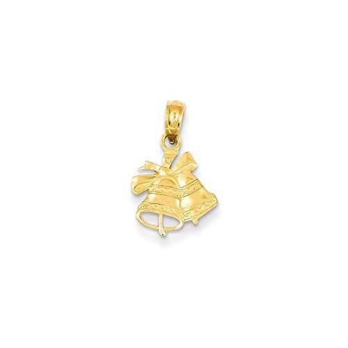 Collar de oro amarillo de 14 quilates con parte trasera texturizada con parte trasera lisa y pulida con parte trasera de Navidad, mide 16 x 11 mm, joyería de regalo para mujeres