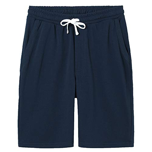 VANCOOG Men's Casual Soft Cotton Elastic Jogger Gym Active Pocket Shorts-Navy Blue-L