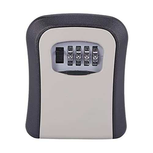 Creely Caja de cerradura con llave Cerradura de aluminio montada en la pared Caja fuerte con llave de 4 digitos Caja de cerradura con llave para almacenamiento de interiores y exterior