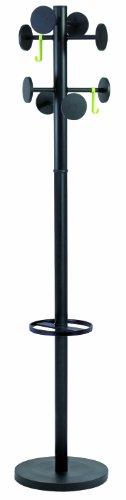 ALBA Perchero 8 Ganchos, Acero, Negro, 176x36x36 cm