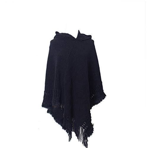 Lankater Weiblich Kapuzen Cape Mit Fransen Hem Winter Stricken Poncho Pullover Mit Quasten Für Damen (schwarz)