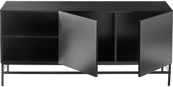 Sumpter Park 客厅入口通道媒体控制台端沙发桌子打开门和储物架黑色橡木完成