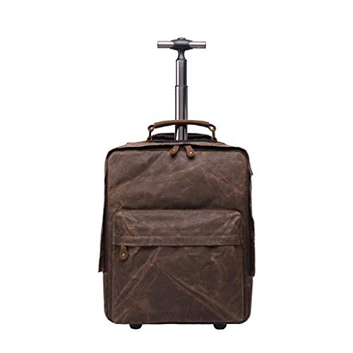 Smart-Rucksäcke mit Rädern, mit USB-Ladeanschluss Leichten Business Travel Koffer, versteckte Spurstange und Schultergurt (Color : Brown, Size : 44 * 33 * 12cm)