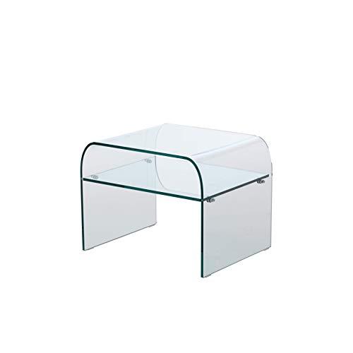 Qriosa Stile Italiano MOD. Pisolo - Comodino dal Design Moderno in Vetro Curvo - 53x45 H41...