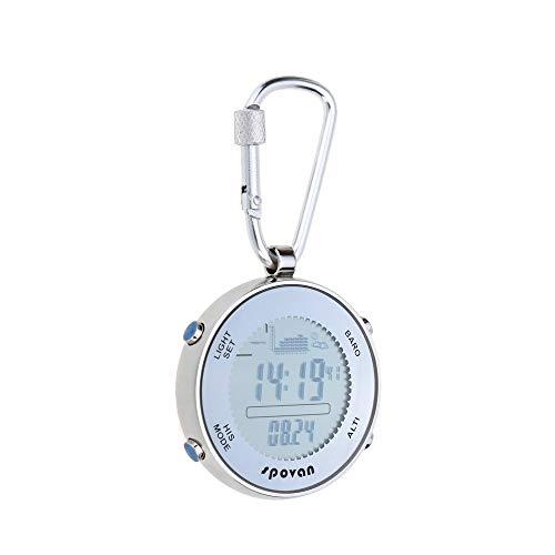 Samtlan Karabinerhaken Karabiner Multifunktionale Outdoor-Sportarten Digital Fishing Barometer Taschenuhr mit Karabinerhaken und elastischem Seil Outdoor Kletterzubehör