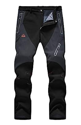 YSENTO Men's Hiking Cargo Pants Waterproof Windproof Fleece Lined Ski Snow Insulated Pants(Black, US 38)
