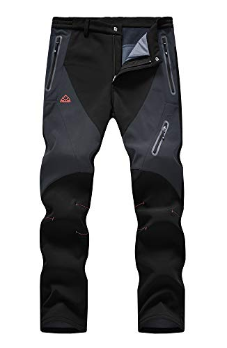 YSENTO Men's Hiking Cargo Pants Waterproof Windproof Fleece Lined Ski Snow Insulated Pants Black US...