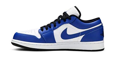 Nike AIR Jordan 1 Low, Chaussure de Basketball Homme, White Hyper Royal Black, 44 EU