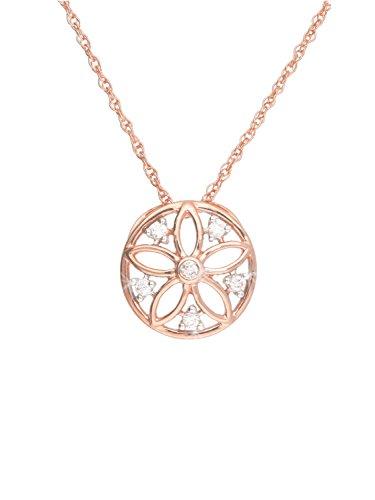 Halskette Mit Anhänger Rotgold Roségold 333 Gold (8 Karat) Diamant 0,05ct. Kette 45cm Rosette Ø 10mm Diamantkette Goldkette Flora V0013549