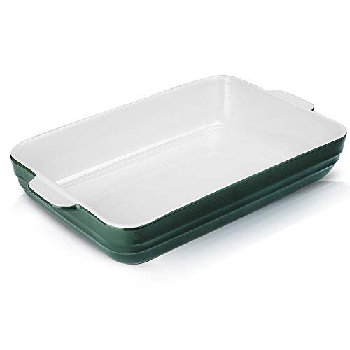 Joyroom Individual Lasagne Dish Large Deep, 9 x 13 Inch Ceramic Baking Pan, Serving Dish, Rectangular Baking Dish, Ceramic Bakeware, Casserole Dish for Oven, Banded Collection (Green)