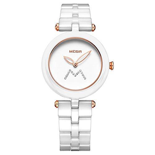 North King Quarz Uhren Datumsanzeige Damenuhr Keramik Mode Handgelenk sehen Sie schöne Uhren für die Frau als Geburtstagsgeschenk A