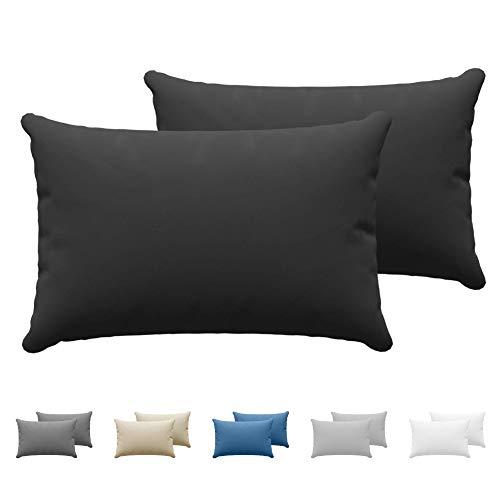 Dreamzie - Set de 2 x Taie Oreiller 40 x 60 cm - Noir - 100% Premium Coton Jersey 150gsm - Housse de Coussin Résistant et Hypoallergénique