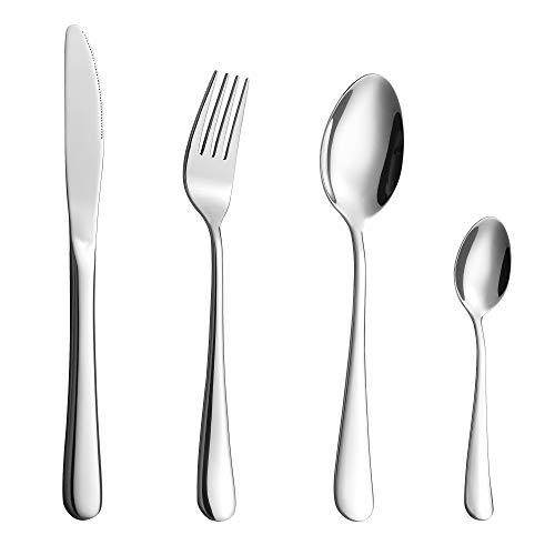Velaze Juego de Cubiertos, Set 16 Piezas de Vijilla de Acero Inoxidable 18/10 para 4 Personas incluye 4 Cuchillos de Mesa, 4 Tenedores, 4 Cucharas, 4 Cucharitas de Té, Plata