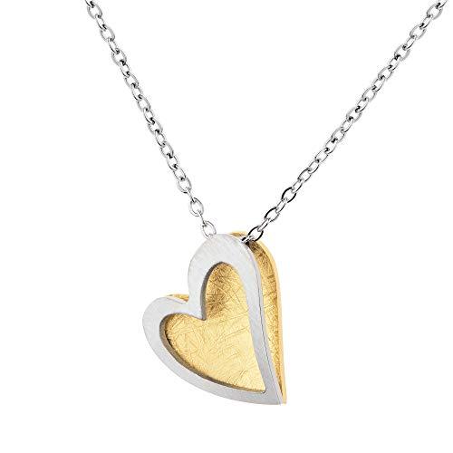 Ernstes Design Schmuck-Krone K812 - Collar con colgante de corazón, acero inoxidable chapado en oro amarillo