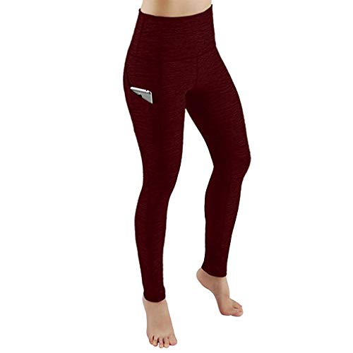 Cheap 90sMuse Women's Yoga Pants with Side Hidden Pockets Solid Stretch Leggings Slim Fit High Waist...