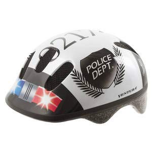 Ventura Police - Casco de ciclismo para niños, color blanco / negro,...