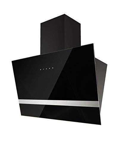 respekta Dunstabzugshaube Schräghaube Wandhaube Kopffrei Glas 60 cm Schwarz LED