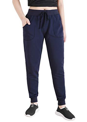 Latuza Women's Cotton Joggers Jersey Sweatpants with Pockets (Medium, Navy)