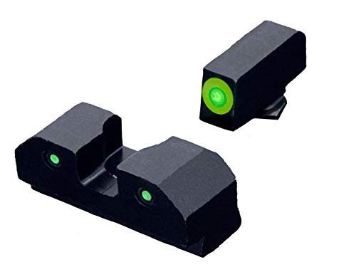 XS Sights R3D Tritium Night Sight for Glocks Gen 1-5 and Taurus, Front and Rear Glow in The Dark Tritium for Tactical Applications (Glock 42, 43, 43x, & 48, Green)